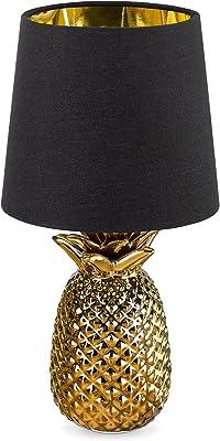Navaris Lampe LED Forme Ananas - Lampe de Chevet et Veilleuse Design 35 cm en Forme d'Ananas - Lampe de Table Décorative Salon Chambre - Or/Noir
