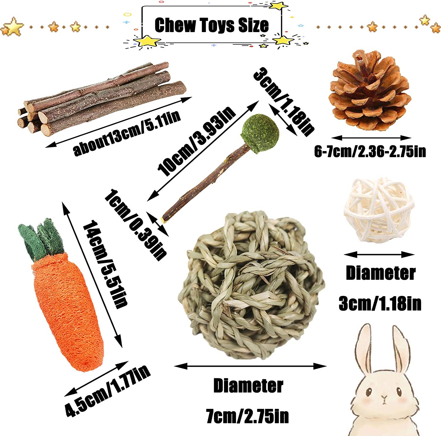 PINVNBY 20PCS Bunny chew Toys Pet Bunny Tooth Chew Toys Organic Natural  Apple Wood Rattan Seagrass Ball Carrot Pine Cone Grass Lollipop for  Chinchilla ...