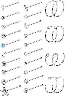 20G 28Pcs Stainless Steel Nose Stud Set Bone L-Shaped Screw Labret Lip Nose Ring Hoop Piercing Jewelry