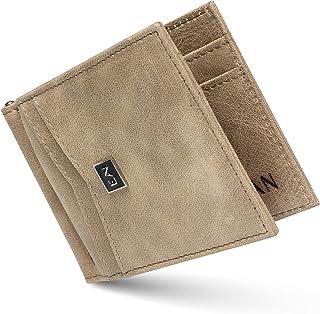 ELAN Portafoglio Uomo Vera Pelle Blocco RFID con fermasoldi, Piccolo Portafogli con tessere tascabile documenti, porta car...