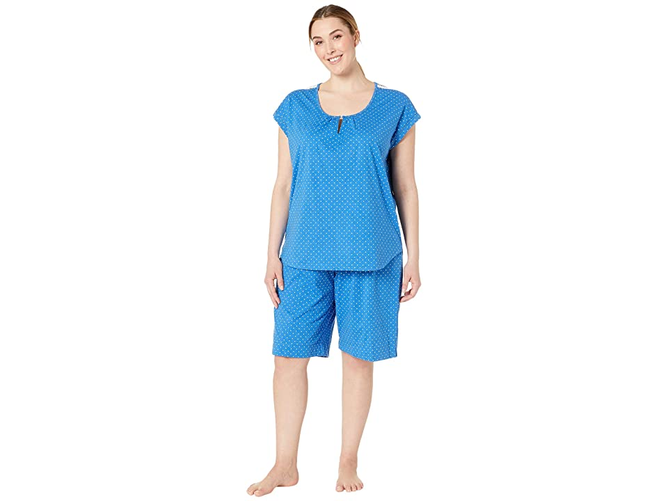 Karen Neuburger Plus Size Cosmopolitan Short Sleeve Bermuda Set (Dot/Chambray) Women