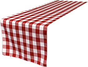 LA Linen 14 Wide by 108 Long Checkered Gingham Table Runner/Pack of 1 / White & Red