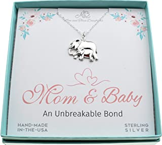 Mom and Baby Elephant charm pendant in sterling silver on an 18
