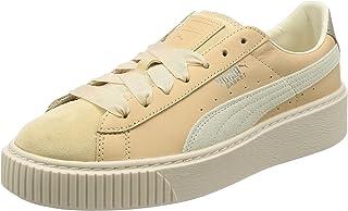 PUMA Womens Basket Platform Premium Trainers Sneakers in Natural Vachetta/Birch.