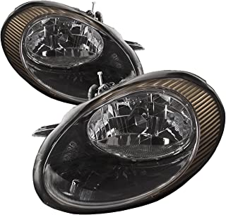 HEADLIGHTSDEPOT Black Housing Halogen Headlight Compatible with Ford Taurus 1998-1999 Includes Left Driver and Right Passenger Side Headlamps