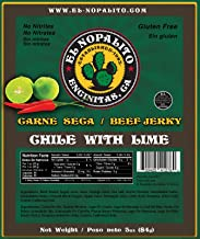 El Nopalito Beef Jerky – Cattle Sourced from CA - Gluten and Nitrate/Nitrite Free High Protein Snack - Made in the USA - Chili with Lime