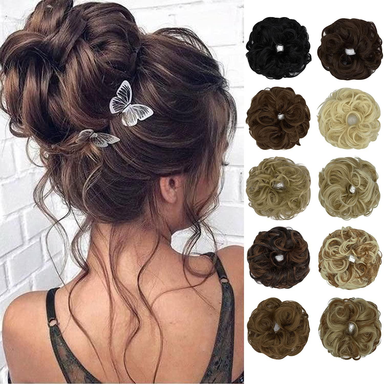 Raleigh Mall FUTATA Messy Hair Max 58% OFF Bun Wavy Scrunchies Curly Extension