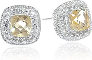 Sterling Silver Cushion Cut Birthstone and Created White Sapphire Halo Stud Earrings