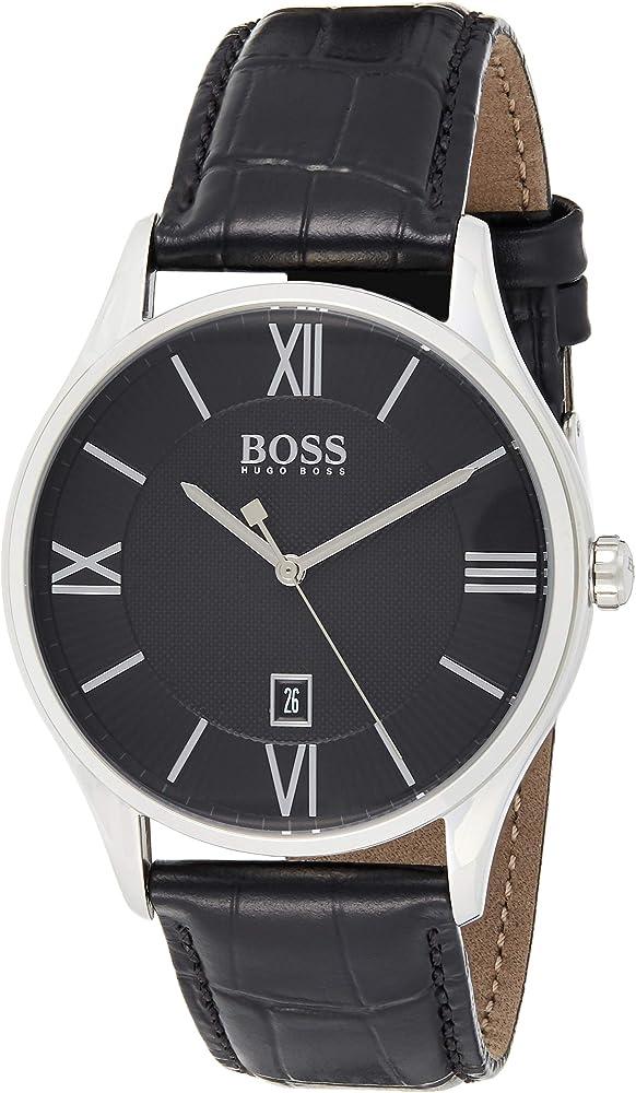 Hugo boss ,orologio per uomo,con cassa in acciaio inossidabile e cinturino in vera pelle 1513485