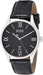 Hugo Boss BLACK MEN'S BLACK DIAL BLACK LEATHER WATCH - 1513485