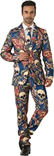 Men's Craze Suit Halloween Costume Skull&Alien Suits Gothic for Men Tuxedo Jacket - Funny Cosplay Party