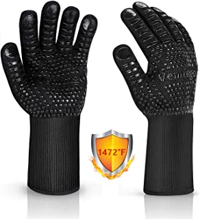 BBQ Gloves 1472°F Extreme Heat Resistant Oven Gloves Food Grade Cooking Grill Gloves Durable Fireproof Kitchen Oven Mitts for Barbecue/Grill/Cooking/Baking 12.5CM Large, Black