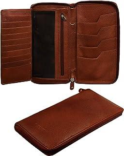 ABYS Genuine Leather Brown Women Wallet||Passport Wallet||Clutch||Card Holder with Zip Closure