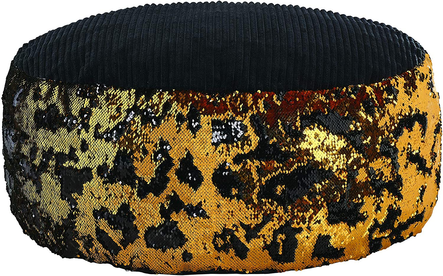 Animal Adventure Wild for Style Popular overseas Sequin Gold Pouf sold out Black