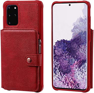 RuiJinHao Samsung Galaxy S10 Flip Case Leather Cover Extra-Shockproof Business Cell Phone Cover Button Zipper Card Slot Anti Fall (red)