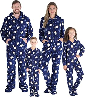 Family Matching Christmas Fleece Penguin Hooded Footed Onesie Pjs