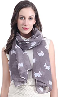 Lina & Lily Scottie Terrier Dog Print Women's Large Scarf Lightweight