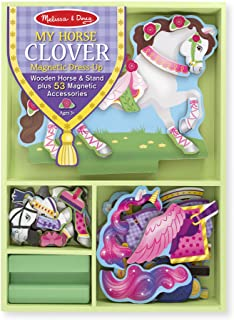 Melissa & Doug My Horse Clover Wooden Doll and Stand With Magnetic Dress-Up Accessories (53 pcs)