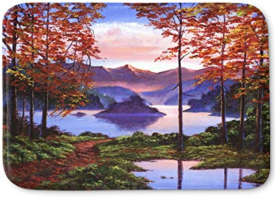 Kess InHouse Cyndi Steen Purple Mountains Blue Green Memory Foam Bath Mat 17 x 24