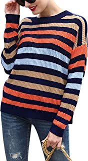 Hibluco Women's Long Sleeve Patchwork Striped Loose Pullover Knit Sweater