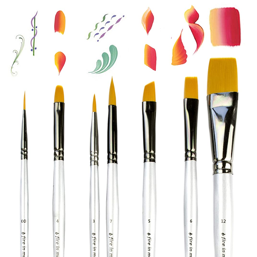 Art Paint Brushes for Acrylic Painting Watercolor Oil Gouache - Body and Face Paint Brushes for Adults Kids. Best Artist Paint Brush Set of 7 pcs, Acrylic Paint Brushes for Painting, Artist Brushes