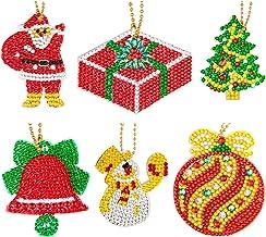Kerstmis Diamond Schilderen Keychain Kit 5D DIY Diamond Painting Pendant Kerstman van de sneeuwman Xmas Tree Volledige Boo...