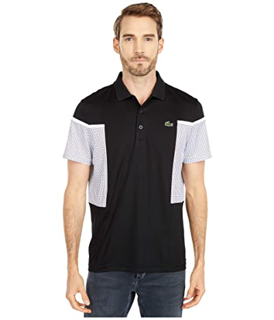 Lacoste Short Sleeve Mesh Inset Color-Block Polo (Black/White/White/Black) Men
