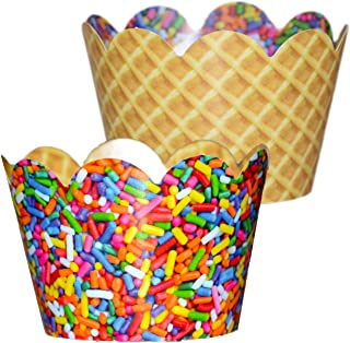 Ice Cream Party Decorations - 36 Cupcake Wrappers Rainbow Sprinkles | Baby Sprinkle Decorations, Donut Party Supplies, Waffle Cone Holder, Ice Cream Bowls, Cute Baking Supplies, Confetti Couture