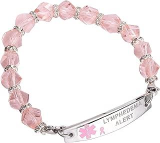 Medical ID Pink Ribbon Beaded Stainless Bracelet Lymphedema Alert No BP IV