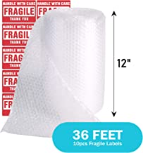 TeiKis 1-Pack (12 in x 36 ft) Bubble Cushioning Wrap Roll Perforated 3/16 inch for Moving Shipping Packing Supplies with 10 Fragile Stickers
