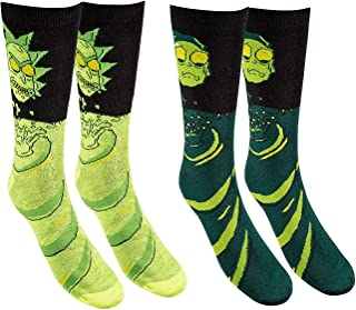 Hyp Rick and Morty Toxic Men's Crew Socks 2 Pair Pack Shoe Size 6-12