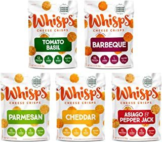 Sponsored Ad - Whisps Cheese Crisps 5-Flavor Variety Pack | Tomato Basil, Barbeque, Parmesan, Cheddar, Asiago & Pepper Jac...