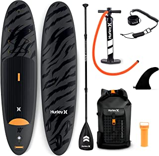 Hurley Advantage 10' Stand Up Paddle Board with Hikeable Backpack, Air Pump, Adjustable Floating Paddle, Coiled Leash, Fin...