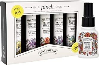 product image for Poo-Pourri in a Pinch Pack Toilet Spray Gift Set, 5 Pack 10 mL, and 1.4 Ounce Tropical Hibiscus Bottle