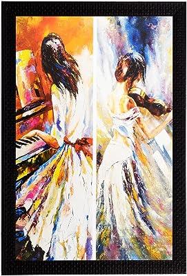 eCraftIndia 'Girl Playing Piano' UV Art Painting (Synthetic Wood, 36 cm x 51 cm, Matt Textured)