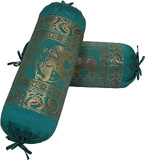 DK Homewares Ethnic Jacquard Brocade Silk Bolster Tube Pillow Covers Elephant Dark Green Yoga Massand Living Room Decorati...