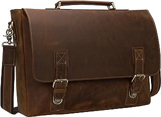 """Iswee Crazy Horse Leather Mens Messenger Bag Briefcase Vintage Briefcase Fit 16"""" or 17"""" Laptop Satchel Shoulder Bag for Traveling (Large Dark Brown)"""