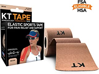 KT Tape Original Cotton Elastic Kinesiology Therapeutic Sports Tape, 20 Precut 10 inch Strips, Beige, Latex Free, Breathable, Pro & Olympic Choice
