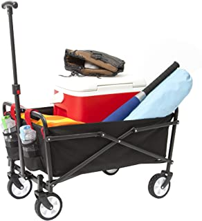 YSC Wagon Garden Folding Utility Shopping Cart,Beach (Black)