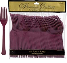 Amscan Premium Heavy Weight disposable-forks, 9.7 x 10.3, Berry