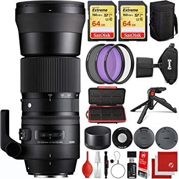 Sigma 150-600mm f/5-6.3 Contemporary DG OS HSM Canon EF-Mount Bundle with 2X 64GB Memory Cards, IR Remote, 3 Piece Filter Kit, Wrist Strap, Card Reader, Memory Card Case, Tabletop Tripod