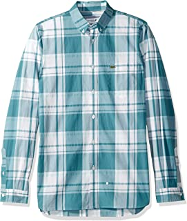 Lacoste Men's L/S Printed Plaid Popeline Stretch Woven