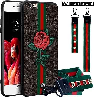 Dairnim iPhone 6s Plus Case, iPhone 6 Plus Case, Ultra-Slim Non-Slip, 3D Rose Pattern Relief, Soft TPU, Long Short Lanyard, Vintage Retro Phone Case for iPhone 6 Plus, 6s Plus 5.5 Inches, Brown Rose