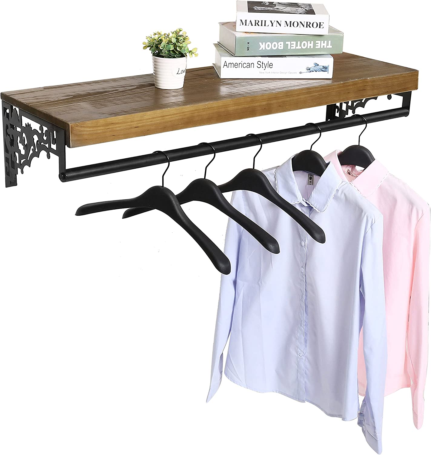 Wall Mounted Wood & Metal Floating Shelf w Garment Hanger Rod, Decorative Retail Clothing Rack, Brown