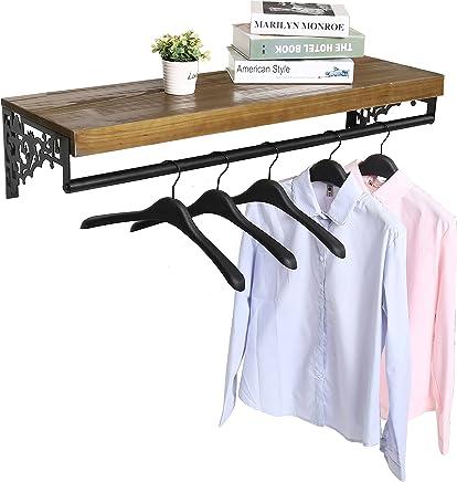 Wall Mounted Wood & Metal Floating Shelf w/Garment Hanger Rod,  Decorative Retail Clothing Rack,  Brown