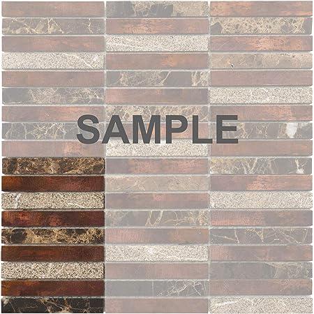 Modket TDH283AC-S Sample Anitque Copper Emperador Stone Marble Stacked Modern Mosaic Tile Backsplash Kitchen Bath Bathroom Shower Interior Wall