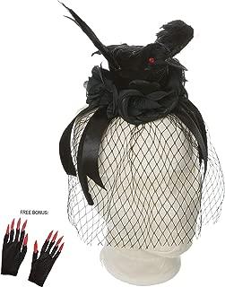 PINE AND PAINT LLC Halloween Headband Spooky Black Crow for Women Girls Costume Accessory Free Bonus: Glittery Nail Gloves