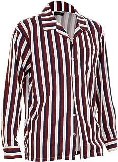 シャツ メンズ 柄シャツ ストライプシャツ 男性 長袖 開襟シャツ オープンカラー ペイント Q020414-02IA