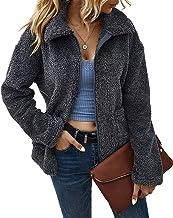 FANVOOK Women's Open Front Zipper Caridgan Winter Fleece Coat Outwear Shaggy Shearling Jacket