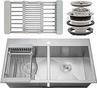 FB Handmade Kitchen Sink 33-inch Topmount 50/50 Double Bowl Stainless Steel 33